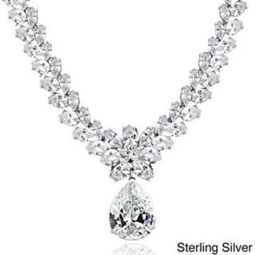 Icz Stonez Sterling Silver 69 1/2ct Cubic Zirconia Teardrop Estate Necklace (White - Sterling Silver)