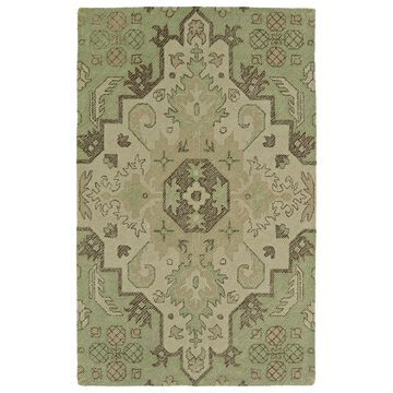 Kaleen Weathered 4 x 6 Green Damask Mid-Century Modern Handcrafted Area Rug Polyester   WTR02-50-46