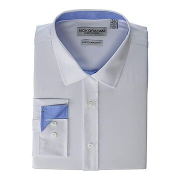 Nick Graham Solid Stretch Dress Shirt (White) Men's Clothing