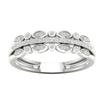 1/8ct TDW Diamond Three Row Ring in Sterling Silver by De Couer - White (7.5)