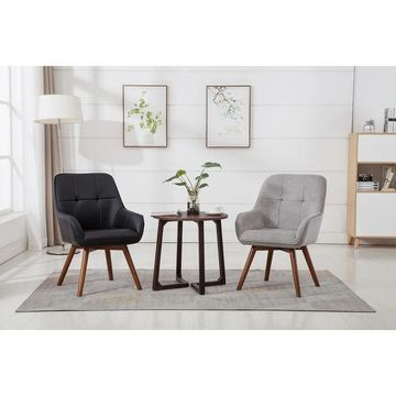 Porthos Home Viera Suede Fabric Dining Chairs, Beech Wood Legs