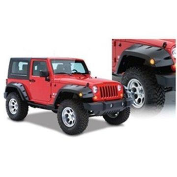 Bushwacker 07-18 Jeep Wrangler Max Pocket Style Flares 2pc Extended Coverage - Black