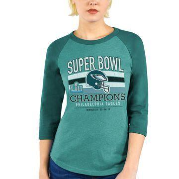 Philadelphia Eagles Majestic Threads Women's Super Bowl LII Champions Tri-Blend Raglan 3/4-Sleeve T-Shirt - Green