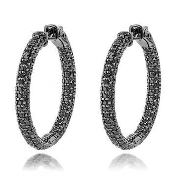 14K Black Diamond Hoop Earrings 5.9ctw by Luxurman