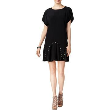 Bar III Womens Studded Mini Flounce Dress