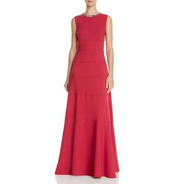 Carmen Marc Valvo Womens Embellished Sleeveless Formal Dress