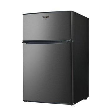 Whirlpool 3.1 Cu Ft Two Door Mini Fridge with Freezer WHR31TS1E, Stainless Steel