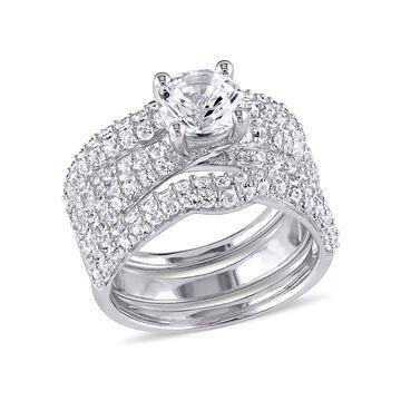 4-1/5 Carat T.G.W. Created White Sapphire Sterling Silver 3-pc Semi-Eternity Bridal Set