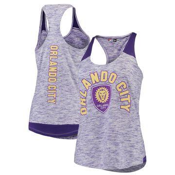 Women's 5th & Ocean by New Era Purple Orlando City SC Space Dye Contrast Inserts Racerback Tank Top