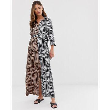 Liquorish midi shirt dress in mixed tiger print with tie belt