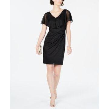 Connected Petite Metallic Glitter Popover Dress