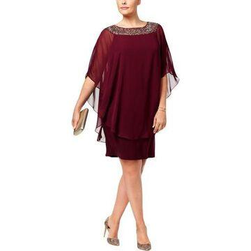 Xscape Womens Chiffon Embellished Capelet Dress