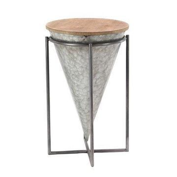 Decmode Modern Inverted Cone-Shaped Iron and Wood Accent Table, Gray