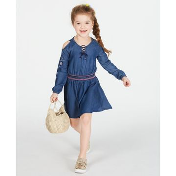 Little Girls Embroidered Cold Shoulder Dress, Created for Macy's