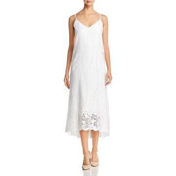 Lafayette 148 New York Womens Dominique Midi Dress Linen Eyelet