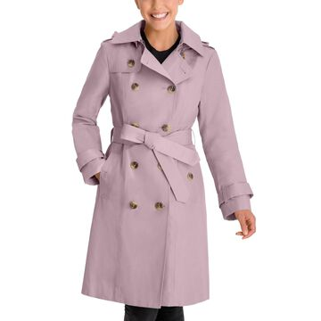 London Fog Petite Double-Breasted Hooded Trench Coat