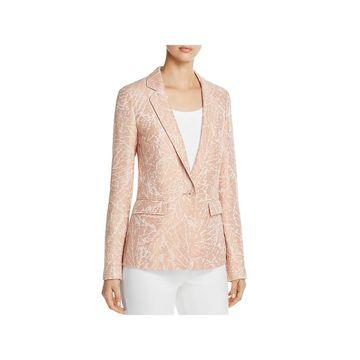 Lafayette 148 New York Womens One-Button Blazer Linen Printed