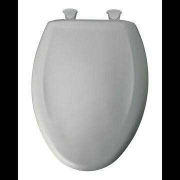 Bemis 1200SLOWT Elongated Closed-Front Toilet Seat and Lid with Whisper-Close Easy-Clean & Change and STA-TITE Seat Fastening System Ice Grey