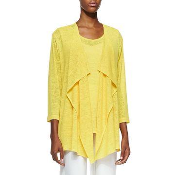 Plus Size Gauze Knit Draped Jacket