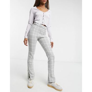 Weekday Alecia tailored pants in gray check