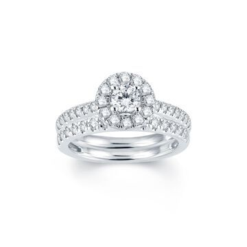 Modern Bride Signature 1 CT T.W. Diamond Halo14K White Gold Engagement Ring