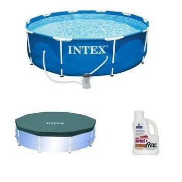Intex Above Ground Swimming Pool w/ Intex Pool Cover and Phosphate Remover