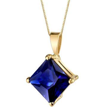 Oravo 14 Karat Yellow Gold Princess Cut 3.50 Carats Created Blue Sapphire Pendant - Silver (Sapphire - 18 Inch - Yellow - Blue - Silver)