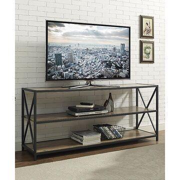 Walker Edison Console and Sofa Tables Rustic - Rustic Oak X-Frame Metal & Wood Bookshelf
