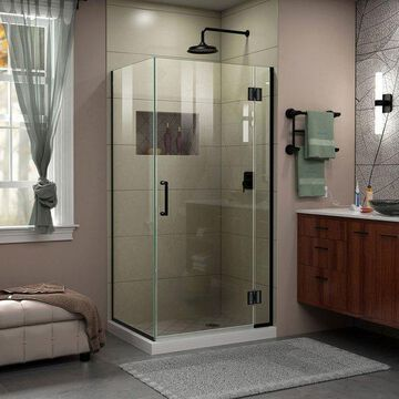 Dreamline Satin Black With Clear Glass, Hinged Shower Enclosure