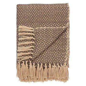 Jaipur Tribal Pattern Brown White Cotton NTH04 Throw