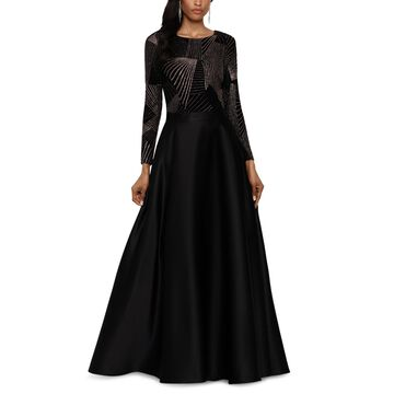 Betsy & Adam Petite Mixed-Media Evening Gown