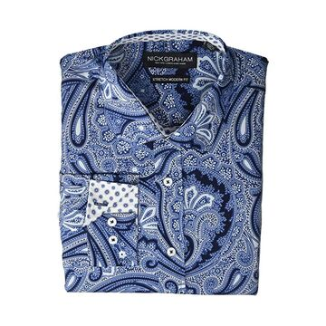 Nick Graham Large Paisley Stretch Dress Shirt (Dark Navy) Men's Long Sleeve Button Up