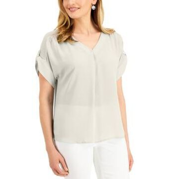 Jm Collection Petite V-Neck Roll-Tab Top, Created for Macy's