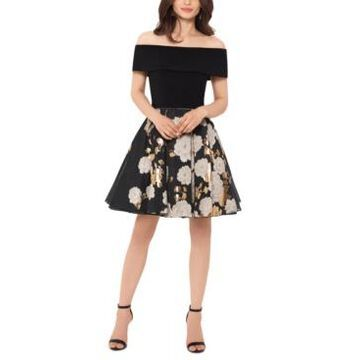 Betsy & Adam Off-The-Shoulder Brocade Dress