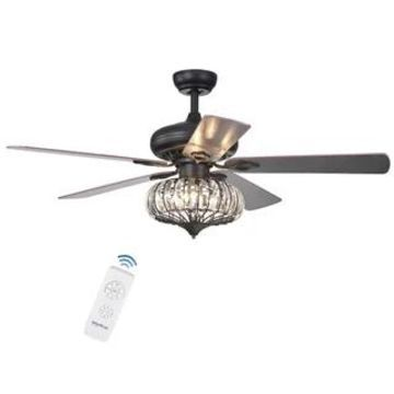Chrysaor 3-light Crystal Matte Black Ceiling Fan (Optional Remote) (Matte Black Remote)