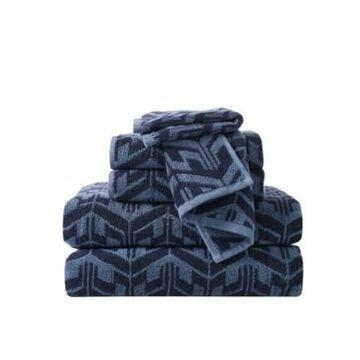 Sean John Herringbone Jacquard 6 Piece Towel Set Bedding