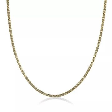 """LYNX Stainless Steel Round Box Chain Necklace, Men's, Size: 22"""", Yellow"""