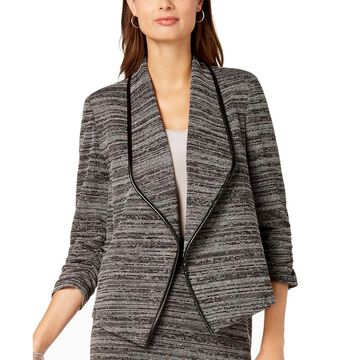 Kasper Womens Jacket Gray Size 16 Textured Flyaway Faux-Leather Piping