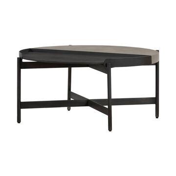Round Dua Concrete Coffee Table Gray/Black - Armen Living