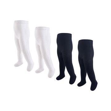 Hudson Baby Girls' Tights Black/White - Black & White Cable Knit Tights Set - Infant & Kids