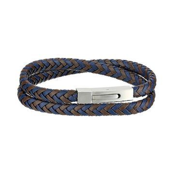"""Men's LYNX Two-Tone Braided Leather & Stainless Steel Bracelet, Size: 17"""", Multicolor"""