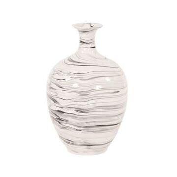 Howard Elliott Porcelain White and Black Swirl Bottle Vase
