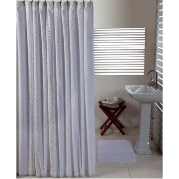 Better Trends Solid Cut Pile and Waves Shower Curtain Bedding