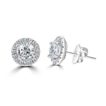 La Vita Vital 2.5ct TGW 14 Karat Moissanite Halo Stud Earrings - N/A