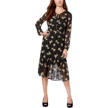 maison Jules Womens Floral Midi Dress