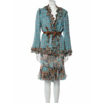 2000's Abstract Printed Skirt Suit Blue