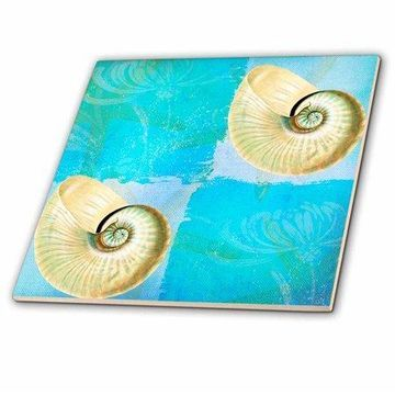 3dRose Two Shells with Starfish in Aqua and Blues Ocean Colors Beach Theme - Ceramic Tile, 12-inch
