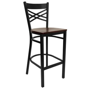 Flash Furniture Mahogany Wood Seat/Black Metal Frame Bar height (27-in to 35-in) Bar Stool in Brown | 812581016932