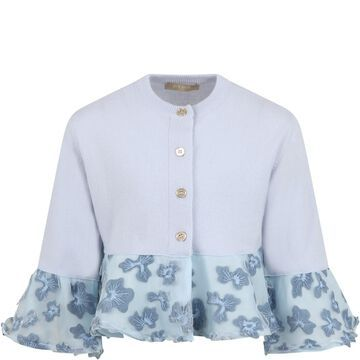 Elie Saab Light Blue Cardigan For Girl With Flowers
