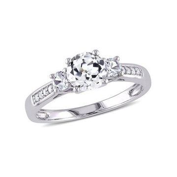Miabella 1-1/3 ct tw Created White Sapphire and Diamond-Accent Three-Stone Engagement Ring in 10K White Gold